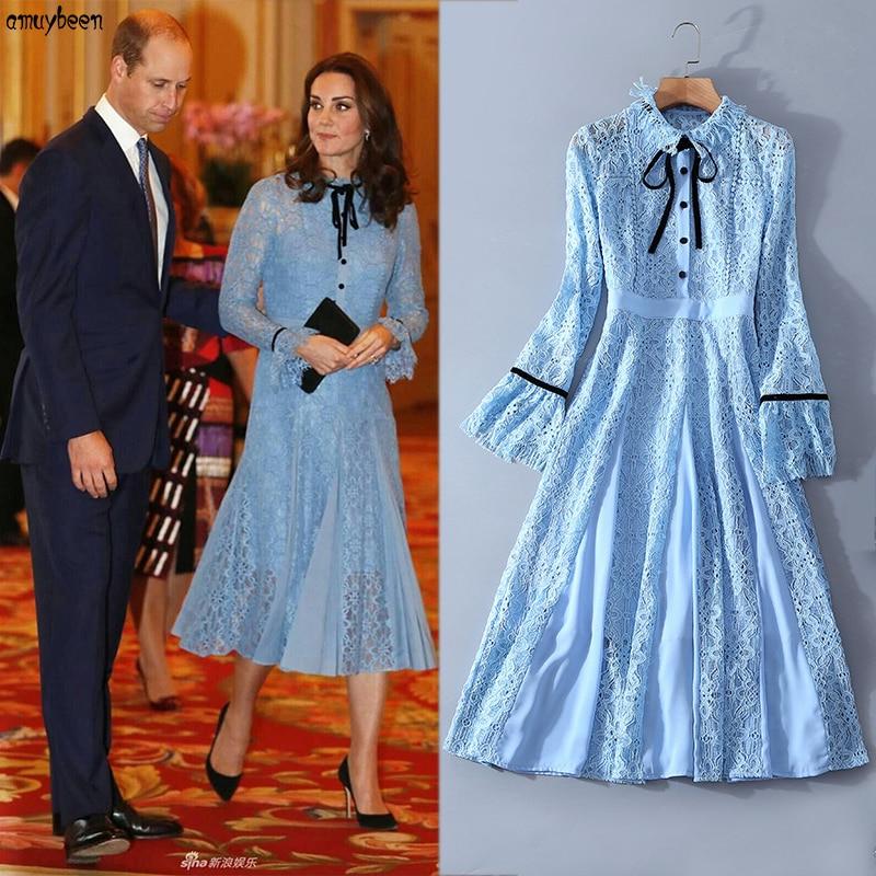 Princess Kate Middleton Dress Blue Lace 2018 Women Christmas New Year Long Sleeve Splice Bow Flare Evening Tunic Elegant Dresses short dresses office wear