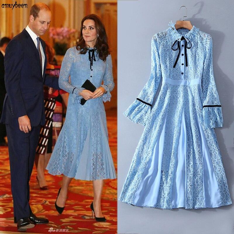 Prinzessin Kate Middleton Kleid Blaue Spitze 2018 Frauen Weihnachten ...