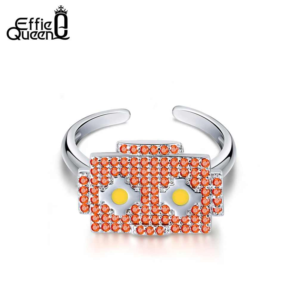 """Эффи queen специальный дизайн кольца для Для женщин с красным ААА кубический циркон квадрат кольцо """"Робот"""" милые изделия девушки подарок ко дню рождения DR193"""