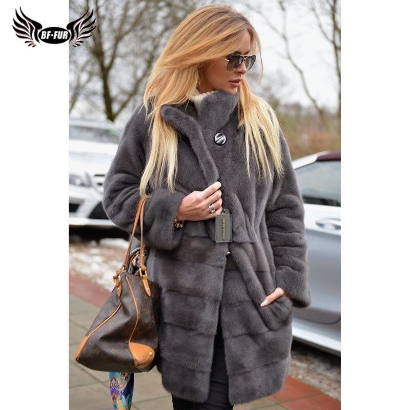 BFFUR Plus tamaño abrigo de piel de visón de piel Natural toda la piel 2018 de moda Collar de las mujeres es ruso abrigos de piel palacio de Invierno Tops
