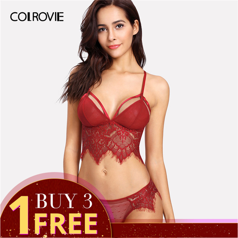 COLROVIE Lace Longline Harness Lingerie   Set   2018 Summer Red Sexy Women   Bra   And Panties   Set   Lace Transparent   Bra   And   Brief     Set