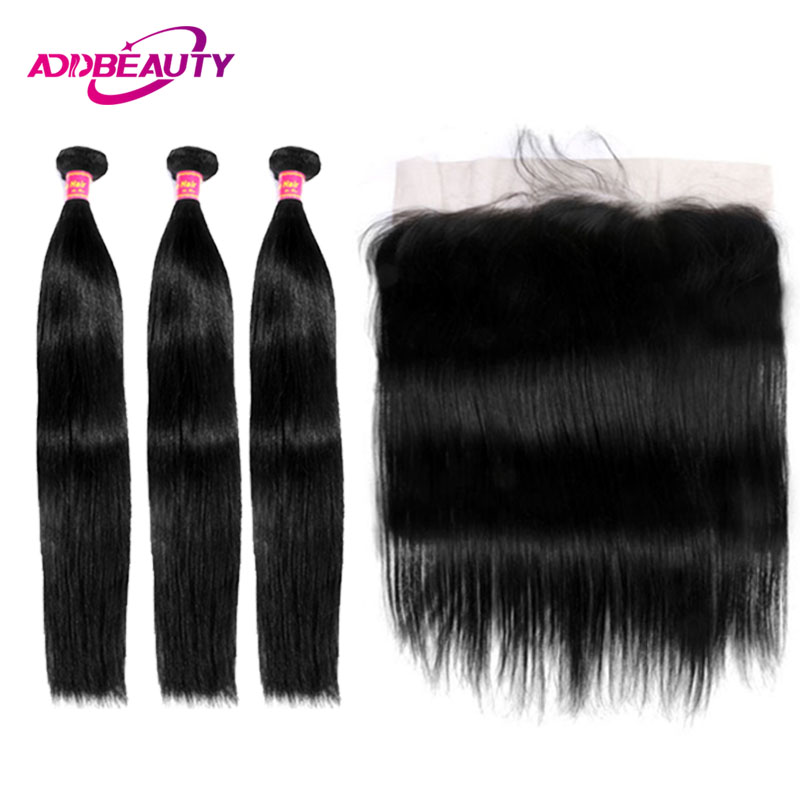 Human Hair Bundles With Frontal Closure 13x4 Ear To Ear Swiss Lace 3 Pcs Brazilian Straight