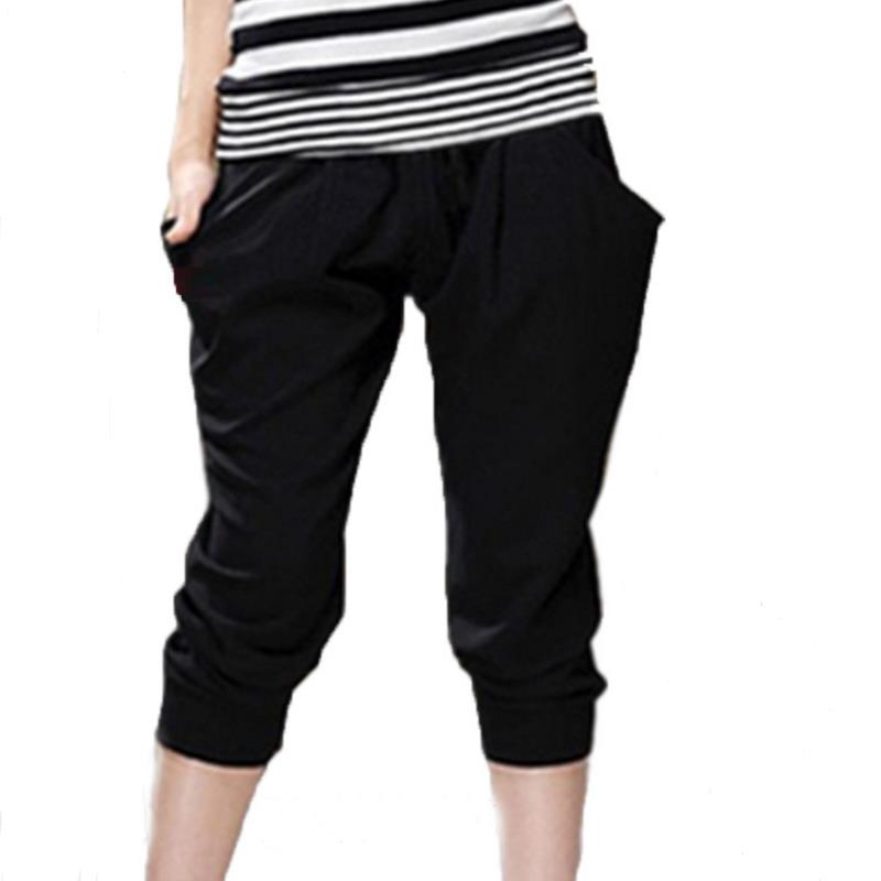 Breathable Thin Casual Harem Pants Womenstretch pants Loose Elastic Waist  Female Cropped trousers Plus Size M-6XL