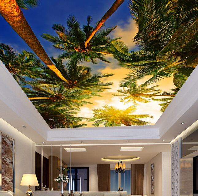 Custom 3d ceiling mural wallpaper sunset coconut for the for Ceiling mural wallpaper