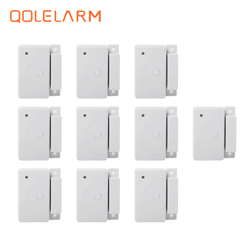 10pcs automatic 433mhz Wireless magnetic door window detector with built-in antenna for wired alarm systems security home цена