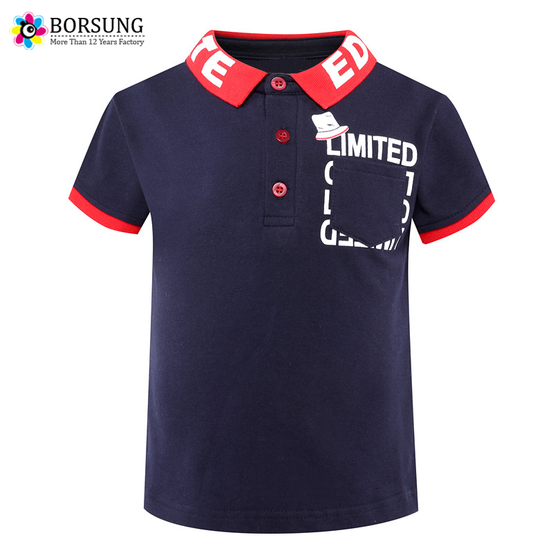 2018 Fashion Boys T shirt For Kids Summer Cotton T-Shirts Short Sleeve Letter Print Boys polo Shirts 3 4 5 6 7Years Boys Clothes stylish short sleeve round neck high low hem tower and letter print t shirt for women