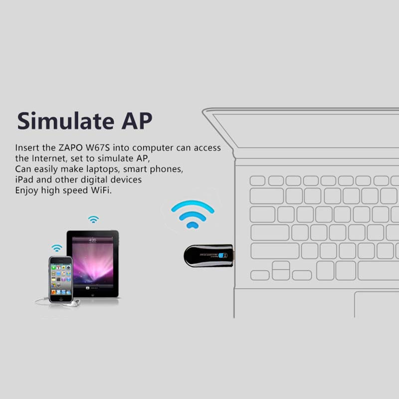 ZAPO Mini 5G WIFI USB Bluetooth 4.0 Lan Adapter 802.11ac Wireless 600 - Peralatan jaringan - Foto 5