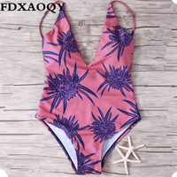 FDXAOQY 2017 New Women Swimwear Push Up Sexy Monokini One Pieces Swimsuit Halter Swimming Suit Flowers