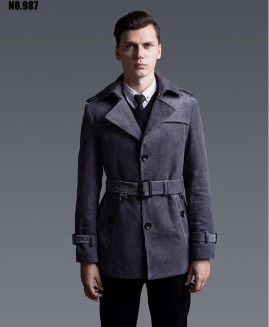S-6XL ! fashion trench coat men male slim Corduroy trench coat British style coat oversize size overcoat men ! free shipping