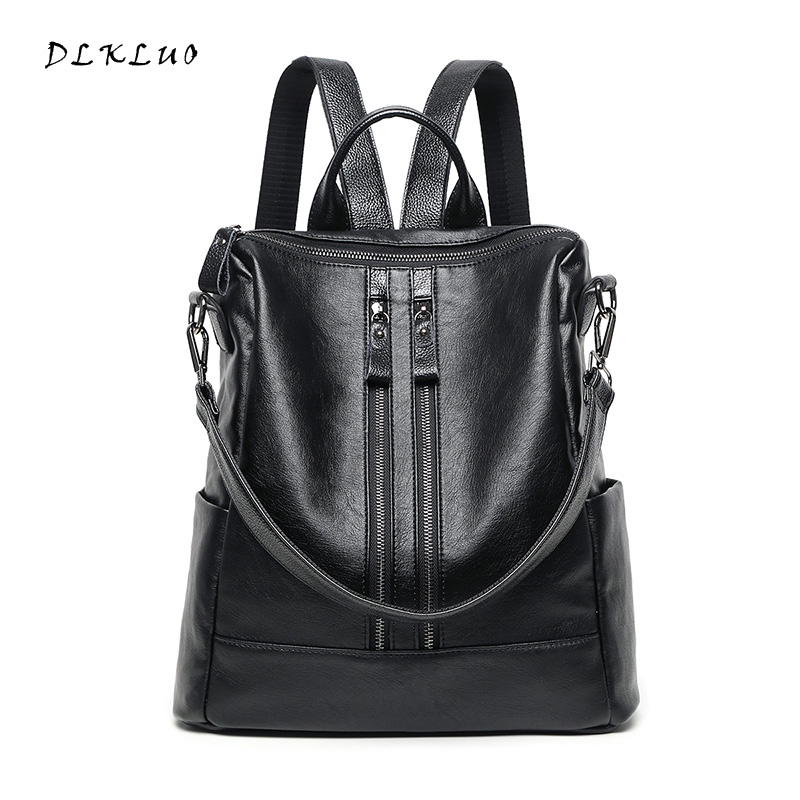 DLKLUO Women Leather Backpack Washed Sheepskin Big Bag Free Shipping Fashion Double Zippers Design Dual-use Bag Girls Travel Bag women backpack fashion pvc faux leather turtle backpack leather bag women traveling antitheft backpack black white free shipping