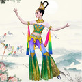(0177) clásica China moon leyenda Dunhuang flying danza disfraces mujer lentejuelas Tailandia folk dance party clothes