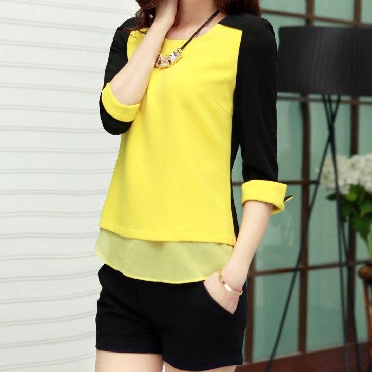 2014 Top Fasion Three Quarter Solid Blusas font b Blouse b font Long sleeve Chiffon Shirt