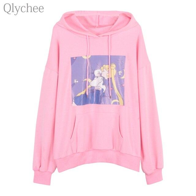 Qlychee Harajuku Women Autumn Pullover Sailor Moon Print Hoodie Sweatshirt  Cute Japanese Anime Cartoon Casual Loose 37b984369c