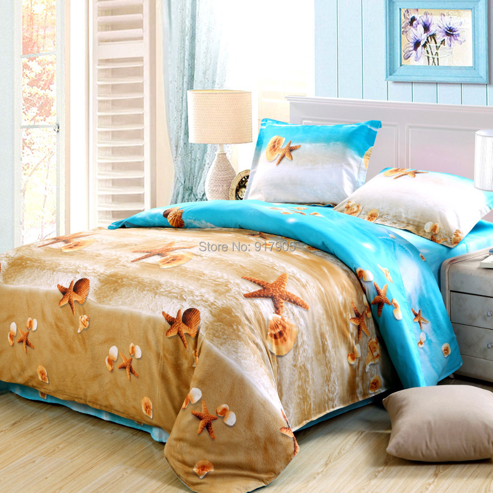 Elegant Ocean Bedding Sets Modern Full Size Ocean Comforter Sets Romantic Beach Bed In A Bag