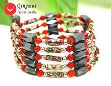 Qingmos трендовый браслет для женщин с красной перегородкой