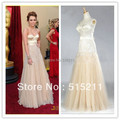 Real Photo Sexy Strapless Sweetheart Bodice Corset Champagne Tulle Miley Cyrus Oscar Red Carpet Dress Formal Evening Gowns
