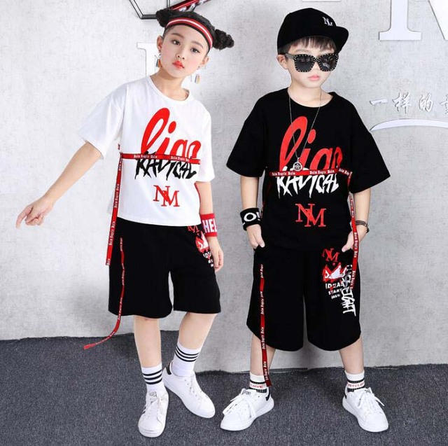 2 Pcs Summer Boys Girls clothing Set Hip Hop dance Costumes Cotton T-shirt Pants kids outfits vetement garcon 6 8 10 12 14 Years