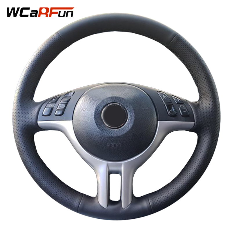 WCaRFun Hand-Stitched Black Genuine Leather Car Steering Wheel Cover For Steering-Wheel for BMW E39 E46 325i E53 X5 Car Styling senior luxury hand knitted bv style car steering wheel cover for mini cooper