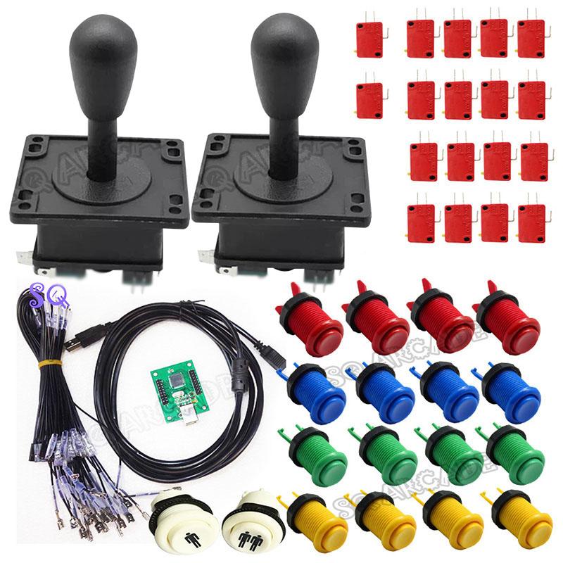 Prix pour 5 sortes joystick pièces D'arcade Faisceaux kit Avec Joystick microrupteur bouton 2 joueurs USB à jamma/PC conseil à DIY Arcade Machine