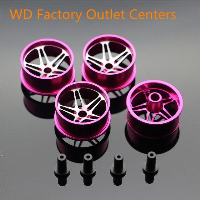 POPIGIST Mini 4wd Large Diameter Lightweight Wheels Custom Parts For Tamiya MINI 4WD Colored Wheel w/Aluminum DiscL008 1Set /lot