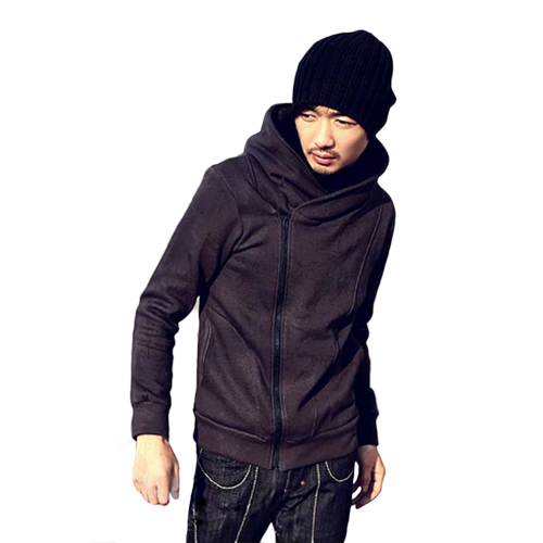 British Style Men's O-Neck Casual High Collar Fashion Personality Stayed Hooded Autumn Jacket Coat 5JEJ 7GNR