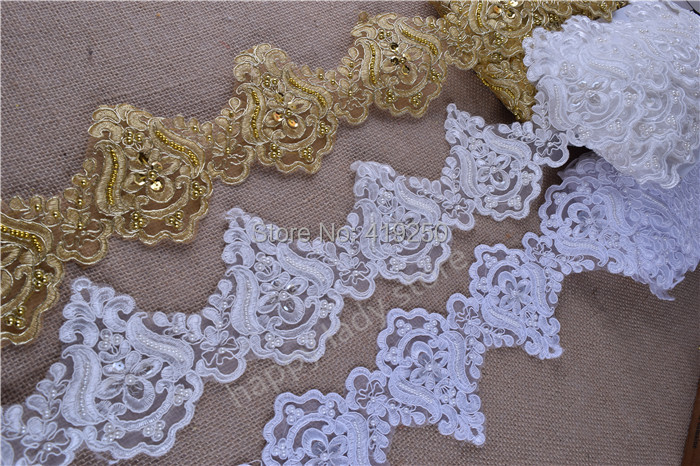 9.5yards  12colors  Pearl  Beaded & Sequin Bridal  Lace Trim for wedding sewing craft wholesale