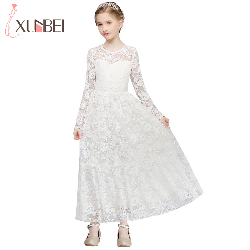 Lovely Long Sleeve Lace Flower Girl Dresses 2018 Ivory Color Girls Pageant Dresses First Communion Dresses Kids Evening Gowns