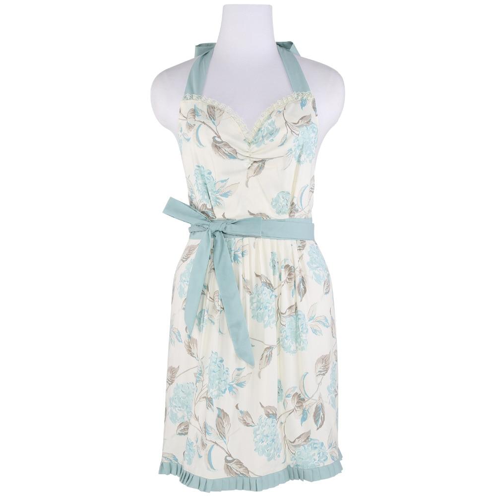 White ruffle apron australia - Neoviva Cotton Twill Garden Apron For Women With Ruffles Style Laura Floral Hydrangea Clear