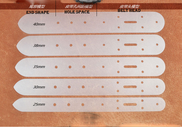 half transparent pvc leather belt hole punch pattern set 5 size