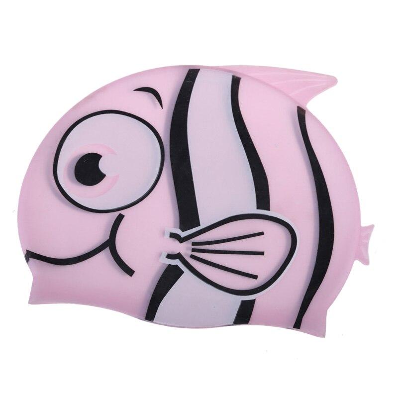 2019 nueva gorra de natación para niños de dibujos animados de peces de silicona resistente al agua para proteger la forma de tiburón natación piscina sombrero niños gorras 22*18 cm