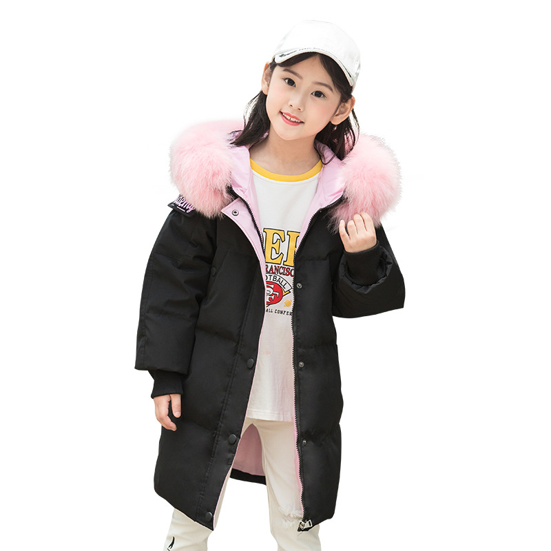 Girls down jacket long children's clothing jacket jacket 2018 warm teenager clothing winter jacket fur hooded size 6 8 10 12 14 jacket met jacket page 14