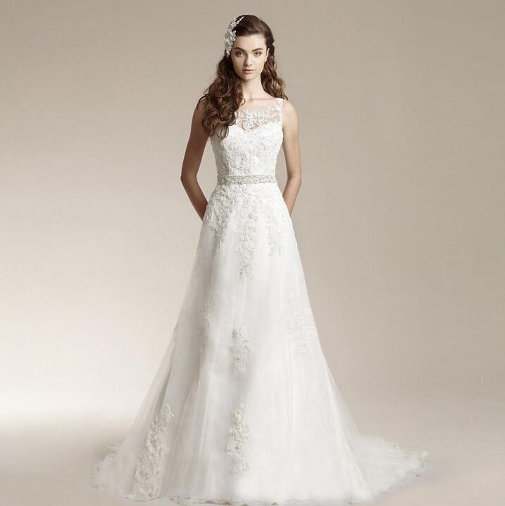Simple Wedding Dress Europe: Simple Belt Crystal Classic Lace Wedding Dress Body Shape