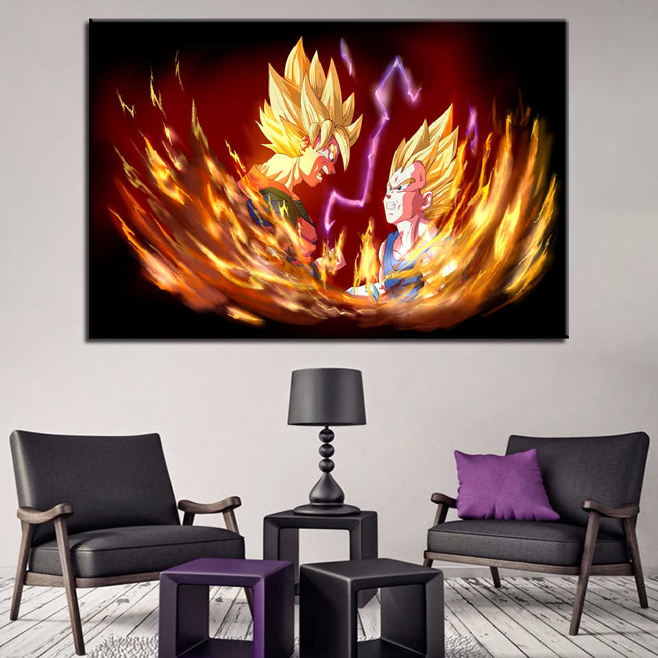HD Prints Animation Modular Picture 1 Set Dragon Ball Character Canvas Painting Fashion Poster Wall Art Hallway Home Decor Frame