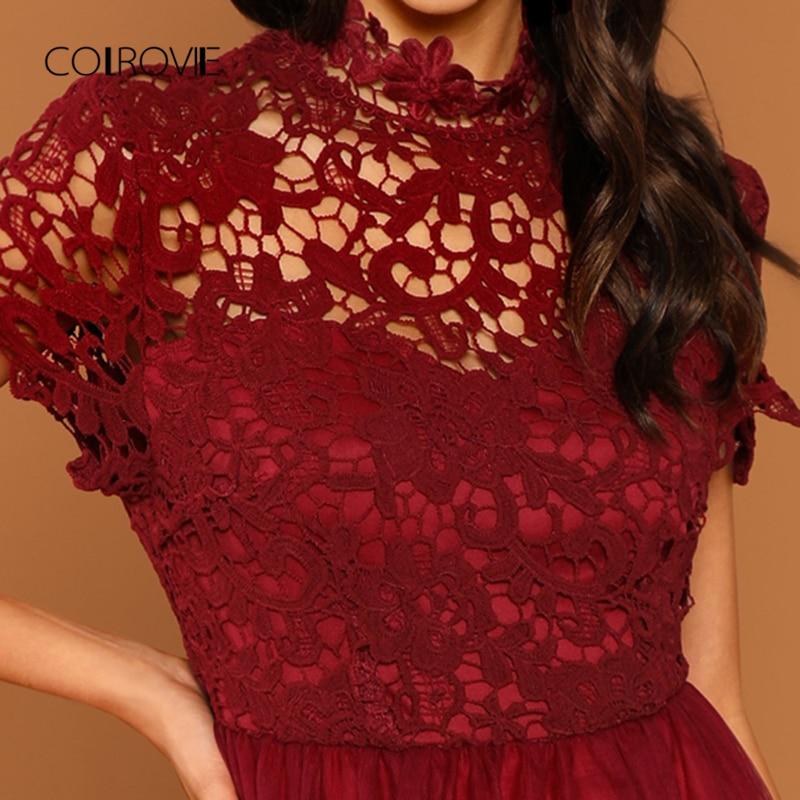 Navidad 2018 Fiesta Elegante Rojo Vestido Blusa Sólido Otoño Cintura Colrovie Encaje Floral Las Alta Malla Burgundy Dulce De Mujeres wqAnO0