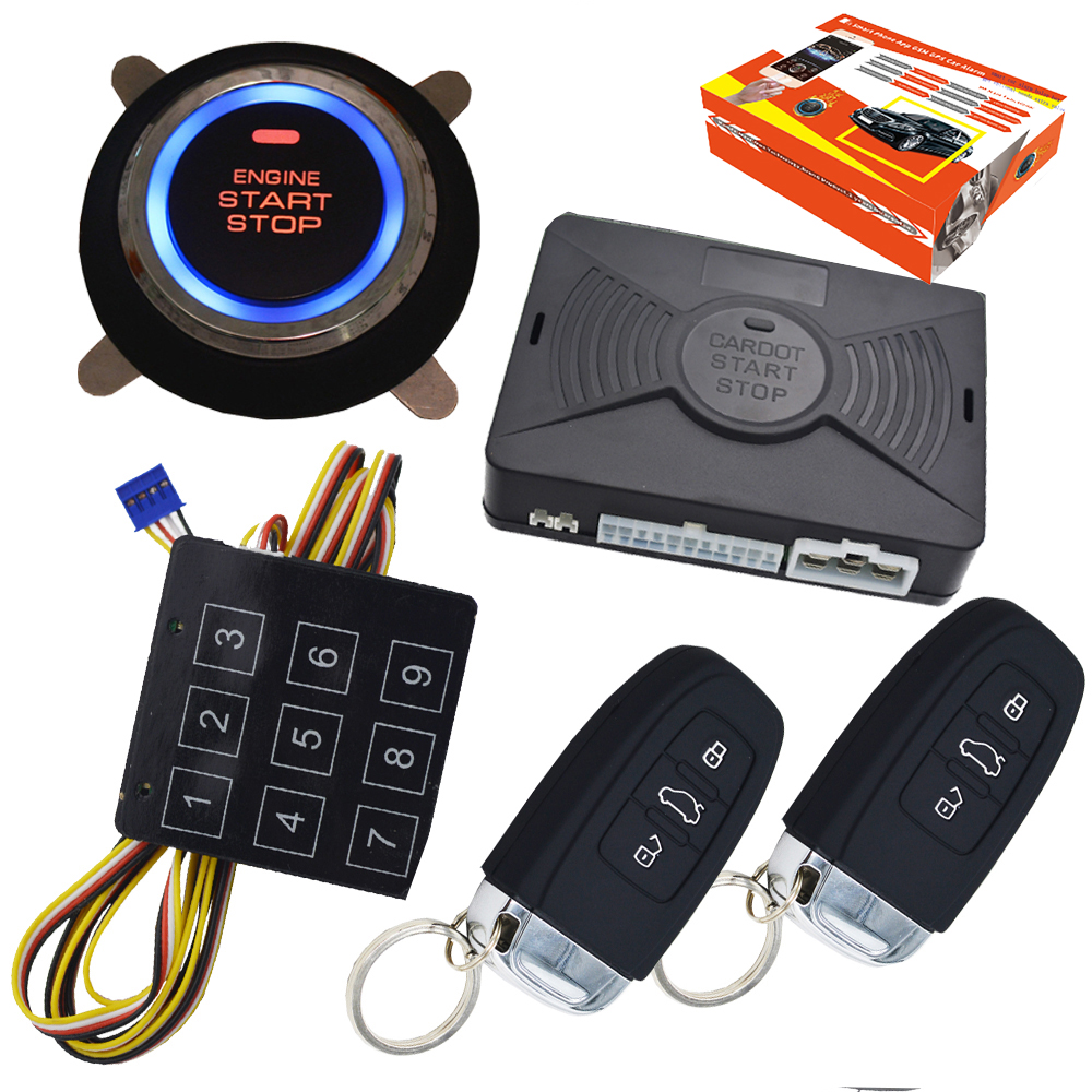 pke car alarm system with ignition start stop anti hijacking auto central lock unlock compatible with