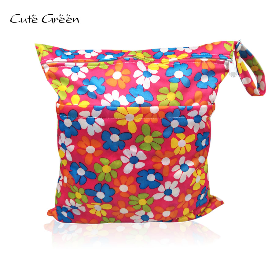 [Cute Green]Waterproof PUL Double Zippered Diaper Bag Swim Sport Stroller Travel Carry Bag Baby Pocket Diaper Nappy Dry Wet Bag