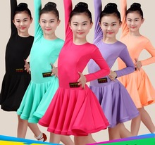 2017 Girl Latin Dance Dress 5 Color Rose/Purple/Black Child Skirt Female Presentation Sexy Children Latin Class Game Dress 2037