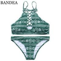 BANDEA Bikini Women 2018 Swimwear Green Print Swimsuit Halter Bikini Set Padding Biquini Hollow Out Maillot