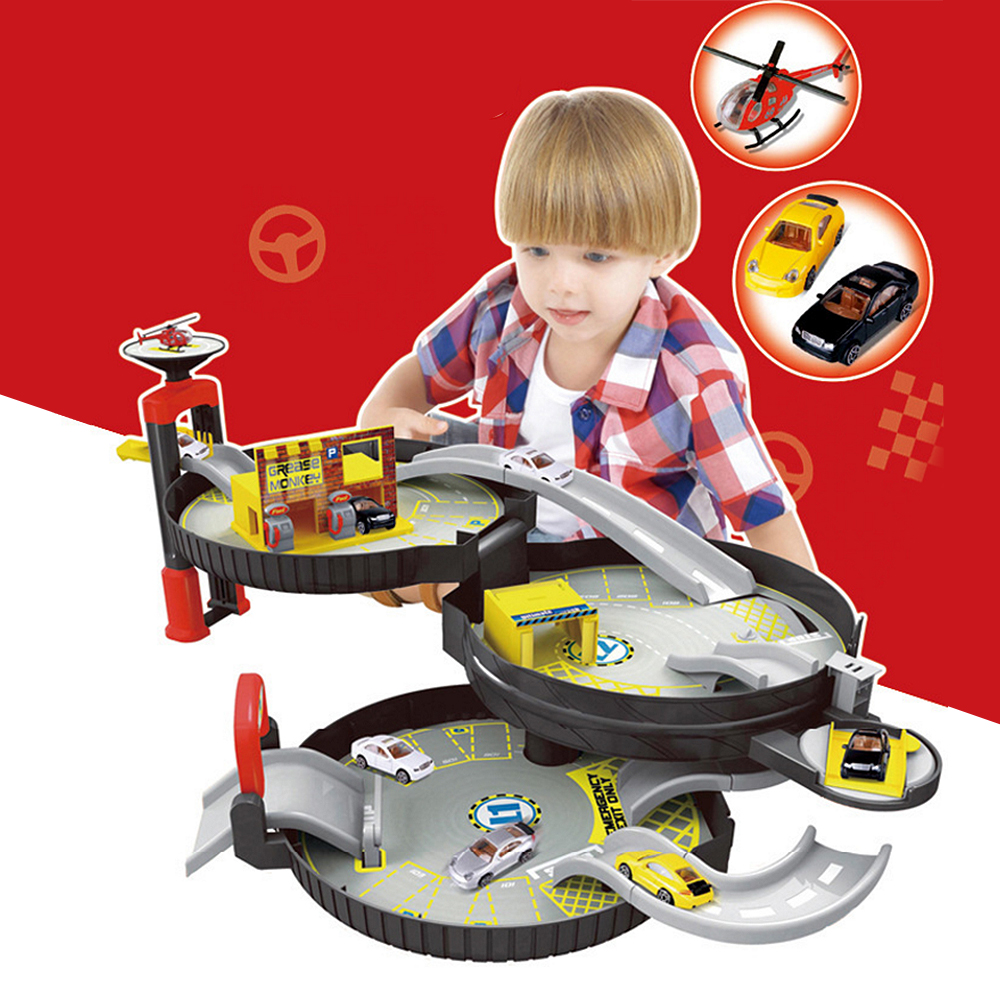 Spiral Roller Rail Alloy Vehicles Kids City Parking Garage Toy Car Truck Vehicle Auto 2/3 Storey Play Set Tire Carrying