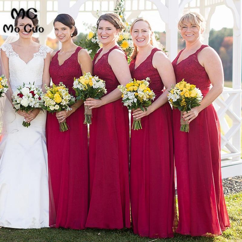 Mocuo 2018 Burgundy Bridesmaid Dresses Long V Neck Backless Keyhole Chiffon Wedding  Party Dress Lace Bridesmaid Dress-in Bridesmaid Dresses from Weddings ... 45f4f6e5f921