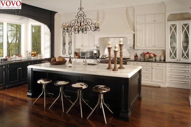 Madera blanca gabinete de cocina isla negro en Gabinetes de cocina ...