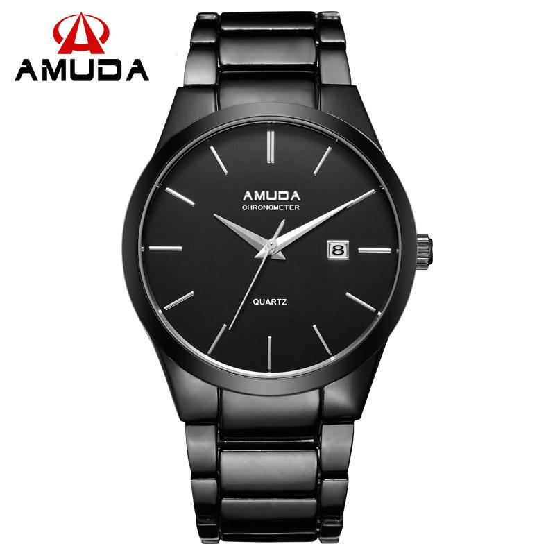 Prix pour Nouvelle mode célèbre marque AMUDA montres hommes Sport horloge en acier de qualité supérieure militaire hommes mâle cadeau de luxe de montres de poignet Quart