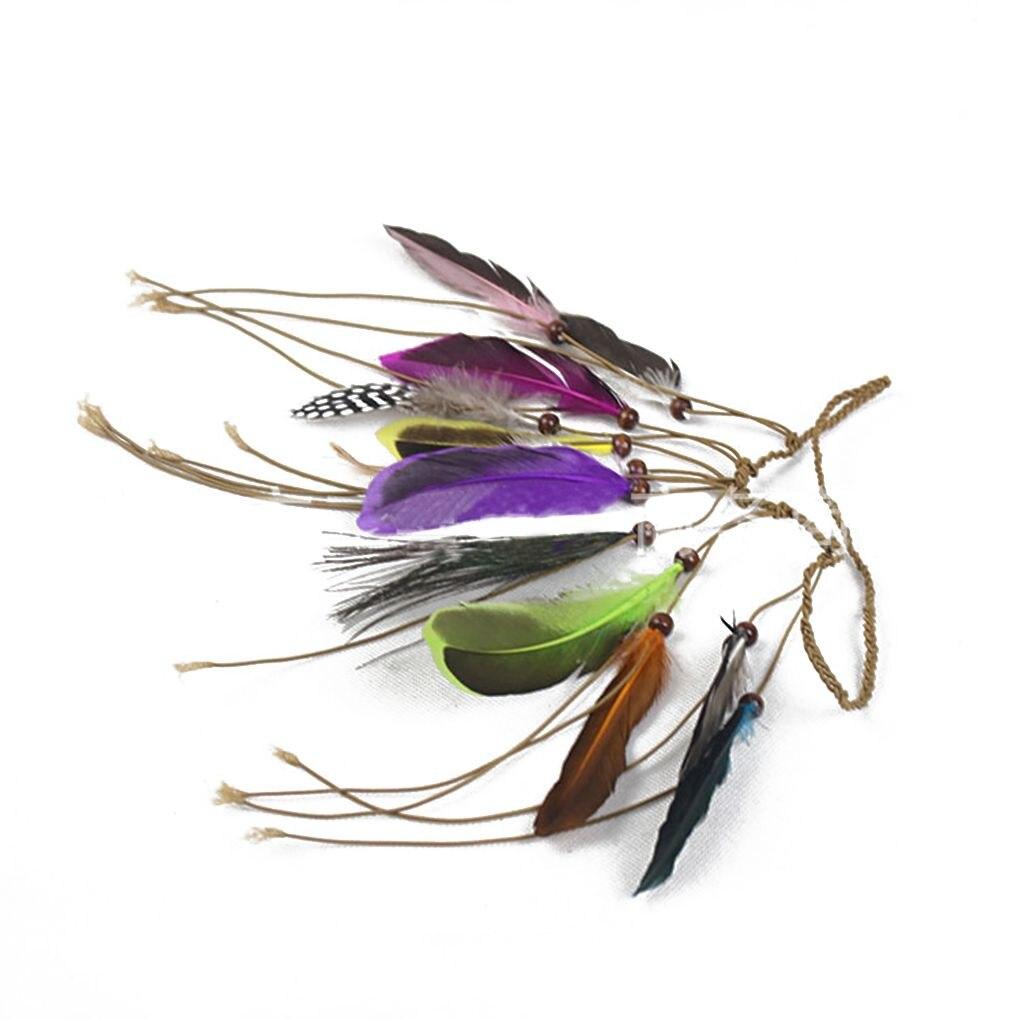 Women Girls Handmade Woven Feather Tassel Headwear with Beads Hair Decorations
