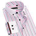 New Spring Summer Mens Striped Dress Shirts White Collar Button Up Long Sleeve Slim Fit Bamboo Fiber Male Casual Business Shirts