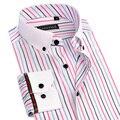 Nova Primavera Verão Mens Camisas de Vestido Listrado Botão do Colarinho Branco para cima de Manga Longa Slim Fit Fibra De Bambu Masculino Business Casual camisas