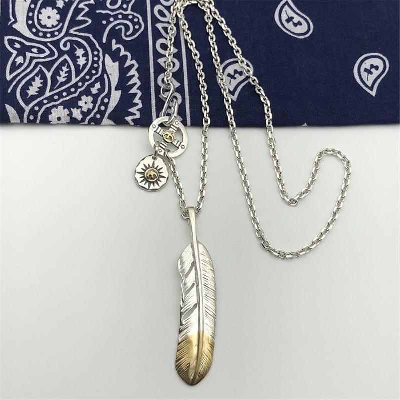 Style indien fait à la main en argent Sterling 925 plume pendentif collier hommes femmes Thai argent bijoux longue chaîne collier hommes bijoux - 6