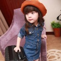 chidlren's fashion clothes full sleeve girls jeans dress with button kids spring clothing jean dresses high quality