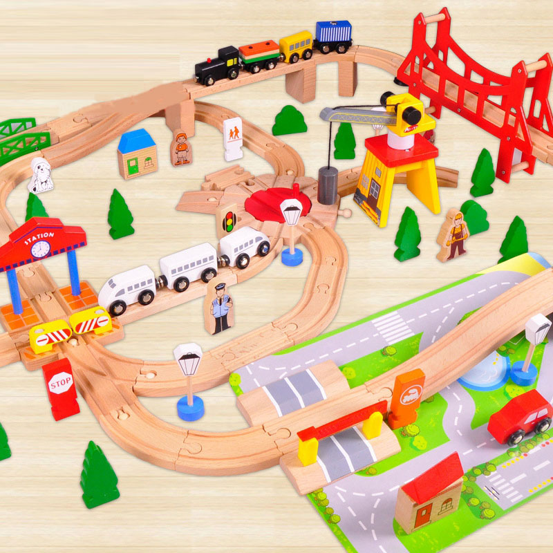 100 Pieces of Educational Toys Wooden Toys Wooden Suits Small Train Tracks Children Early Education hot sale 1000g dynamic amazing diy educational toys no mess indoor magic play sand children toys mars space sand