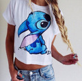 NVTX16 Hot Sale Summer Lilo&Stitch Women T-shirt Fashion Print Femininas Camiseta Short Sleeve Crop Top Sexy Female T Shirt