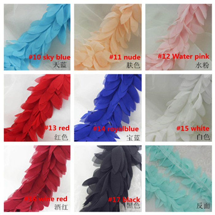 Leaves 3D Chiffon Flower Lace Boa Sewing Trims Fringe Lace Ribbon Bow accessories DIY Material Lace Fabric